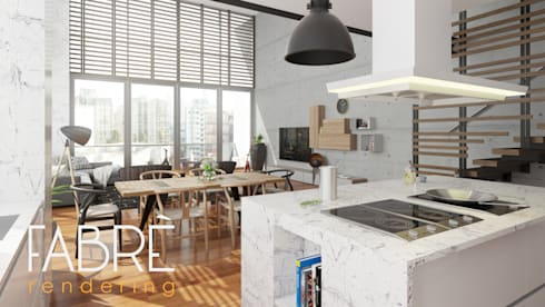 LOFT - INTEGRACION: Cocinas de estilo moderno por FABRE STUDIO