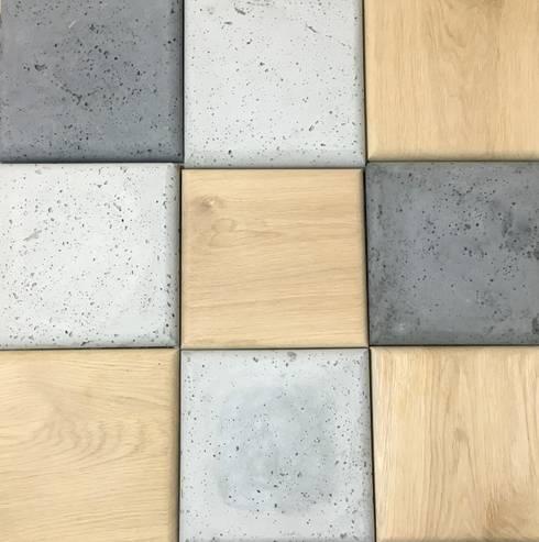 Beton i drewno elementy 3D: styl , w kategorii Salon zaprojektowany przez Bettoni