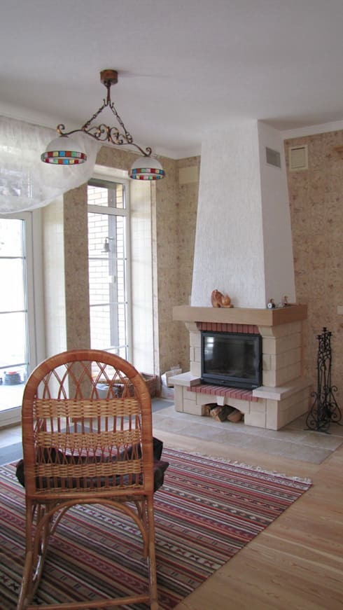 Дом в Захарово: Гостиная в . Автор – архитектурная мастерская МАРТ
