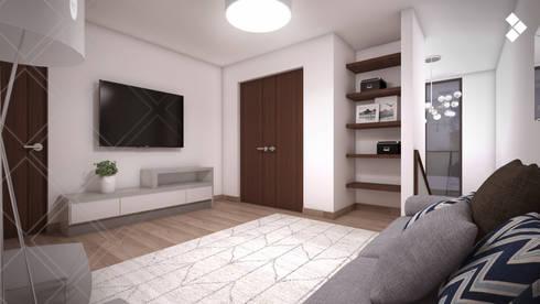 Cuarto de TV: Salas multimedia de estilo moderno por CDR CONSTRUCTORA