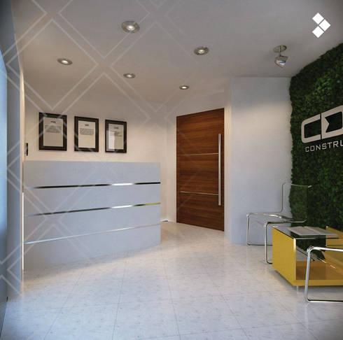 Recepción: Estudios y oficinas de estilo minimalista por CDR CONSTRUCTORA