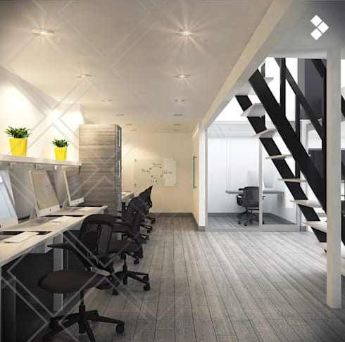 Línea de diseño: Estudios y oficinas de estilo minimalista por CDR CONSTRUCTORA