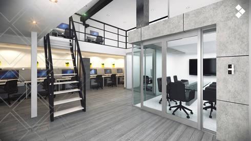 Sala de juntas y mezzanine: Estudios y oficinas de estilo minimalista por CDR CONSTRUCTORA