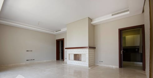 تشطيب شقة 6 اكتوبر:  غرفة المعيشة تنفيذ YAS interior designs