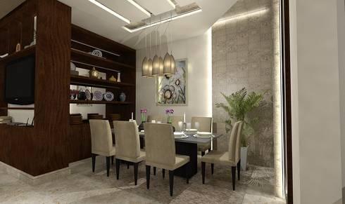 تصميم شقة في الجيزة:  غرفة السفرة تنفيذ Ain Designs Studio