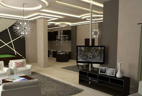 تصميم فيلا في مدينة الشيخ زايد:  غرفة المعيشة تنفيذ Ain Designs Studio