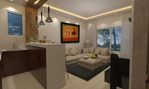تصميم فيلا بالتجمع الخامس Palm Hills:  غرفة المعيشة تنفيذ Ain Designs Studio