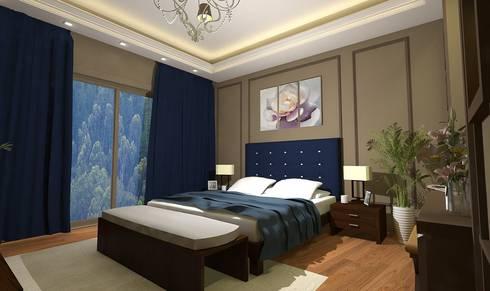 تصميم فيلا بالتجمع الخامس Palm Hills:  غرفة نوم تنفيذ Ain Designs Studio