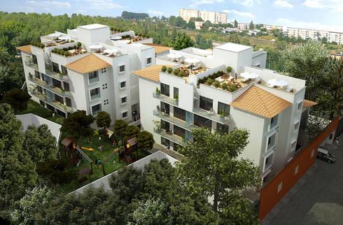 Departamentos Benito Juarez: Casas de estilo moderno por ByHand