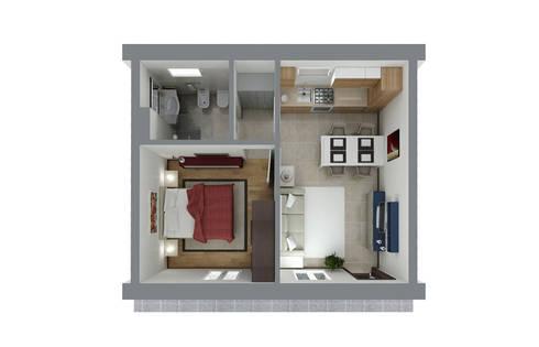 Arredare un bilocale di internocasa studio d 39 interni homify for Arredamento bilocale moderno