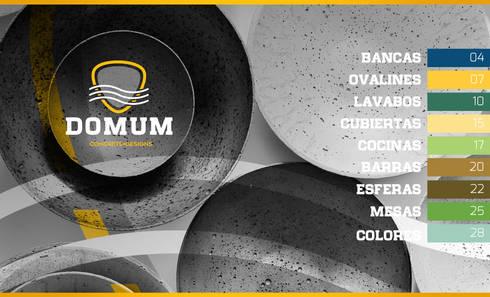 Bancas/ Ovalines/ Lavabos/ Cubiertas/ Cocinas/ Mesas / Esferas: Balcones y terrazas de estilo moderno por Domum