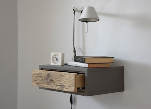 Floating table comodino piccolo a muro con 1 cassetto in - Tablette de chevet suspendu ...