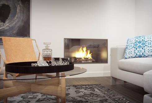 Apartamento Egas Moniz: Salas de estar modernas por ASVS Arquitectos Associados