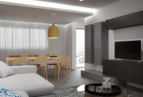 Apartamento Egas Moniz: Salas de jantar modernas por ASVS Arquitectos Associados