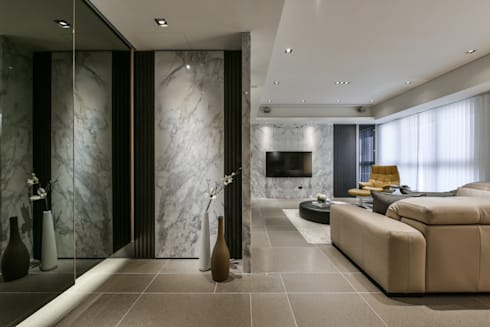 Tranquil 靜謐:  走廊 & 玄關 by CJ INTERIOR 長景國際設計