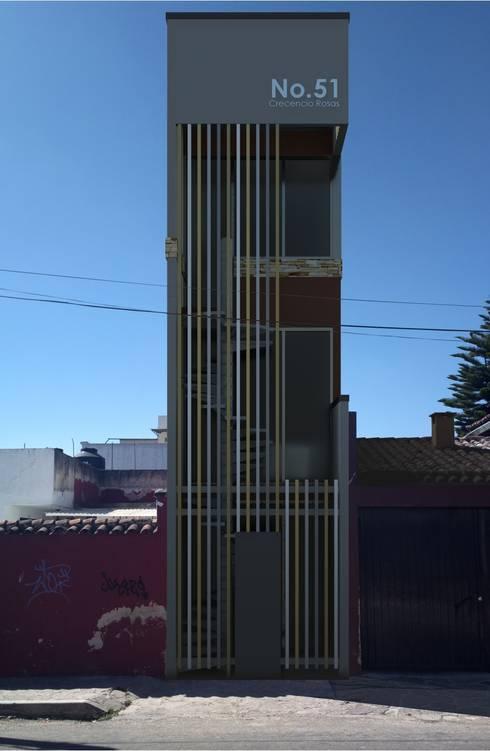 Oficina y Mini Departamentos: Casas de estilo moderno por Arq. Rodrigo Culebro Sánchez