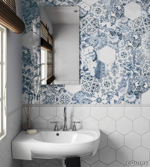 Hexatile Blanco Brillo, Decor Patchwork Lisboa 17,6x20,1, Torello Blanco 2x15: Baños de estilo rústico de Equipe Ceramicas