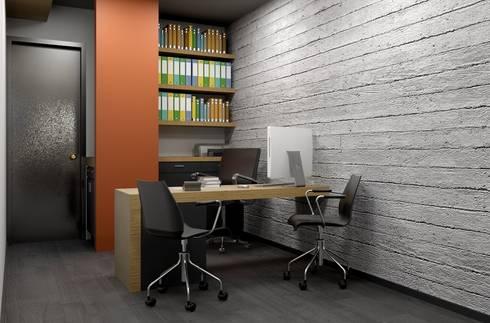 Oficina y Mini Departamentos: Estudios y oficinas de estilo moderno por Arq. Rodrigo Culebro Sánchez