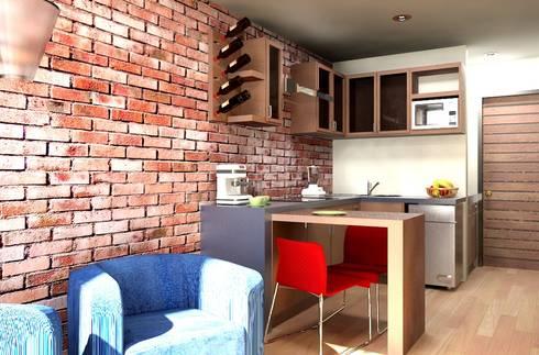 Oficina y Mini Departamentos: Comedores de estilo moderno por Arq. Rodrigo Culebro Sánchez