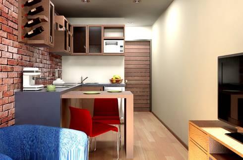 Oficina y Mini Departamentos: Cocinas de estilo moderno por Arq. Rodrigo Culebro Sánchez