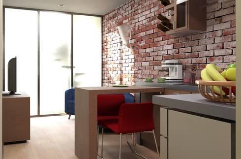 Oficina y Mini Departamentos: Salas de estilo moderno por Arq. Rodrigo Culebro Sánchez