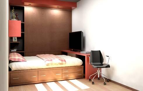 Oficina y Mini Departamentos: Recámaras de estilo moderno por Arq. Rodrigo Culebro Sánchez
