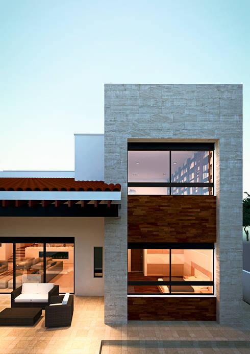 Fachada: Casas de estilo mediterraneo por Laboratorio Mexicano de Arquitectura