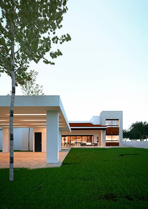 Fachada : Casas de estilo mediterraneo por Laboratorio Mexicano de Arquitectura