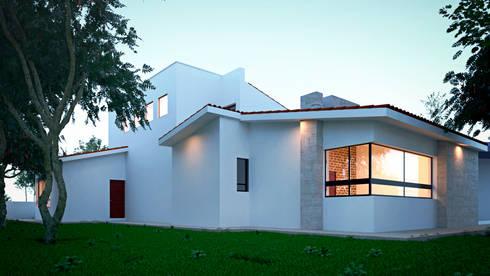 Fachada posterior: Casas de estilo mediterraneo por Laboratorio Mexicano de Arquitectura