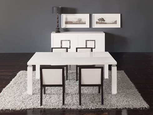 Salas de jantar Dining rooms www.intense-mobiliario.com  WHITE : Sala de jantar  por Intense mobiliário e interiores;