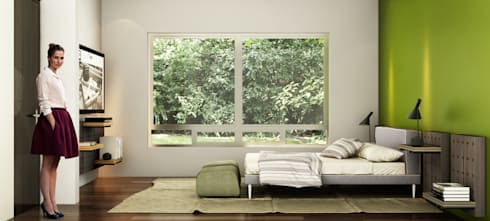 Render recamara residencia.:  de estilo  por argueta+f9 arquitectura