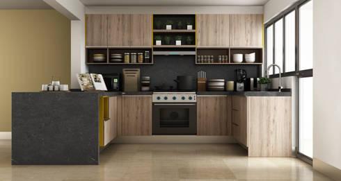 Render cocina residencia.:  de estilo  por argueta+f9 arquitectura