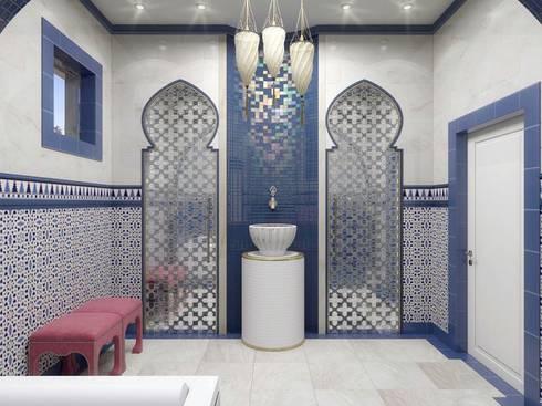 Дизайн интерьера в двухэтажном коттедже: Ванные комнаты в . Автор – META-architects архитектурная студия