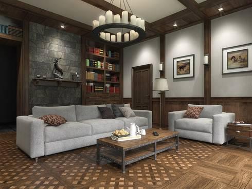 Дизайн интерьера в двухэтажном коттедже: Гостиная в . Автор – META-architects архитектурная студия