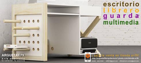 Escritorio/librero/guarda/multimedia a+f9 el tibu nanos modelo VETA BLANCA. Ahora en realidad aumentada.: Estudio de estilo  por argueta+f9 arquitectura