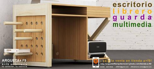 Escritorio/librero/guarda/multimedia a+f9 el tibu nanos modelo SELVA ÁRIDA. Ahora en realidad aumentada.: Estudio de estilo  por argueta+f9 arquitectura