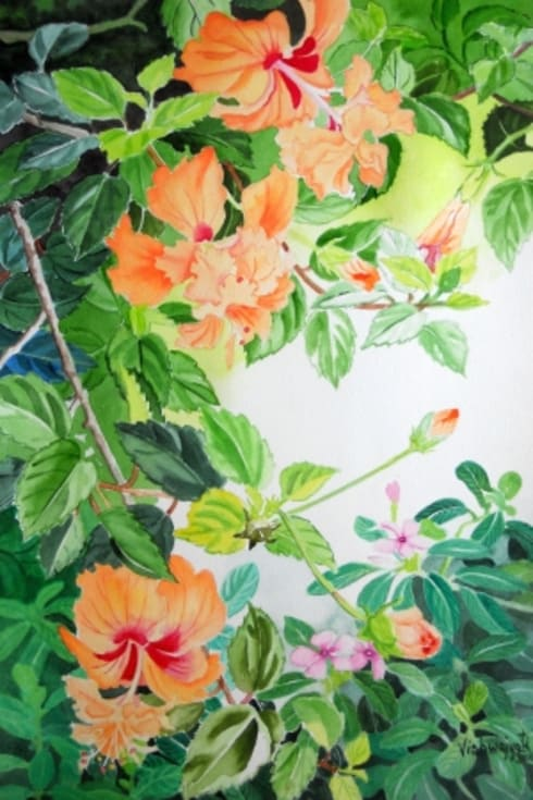 Schizopetalus Hibiscus and Catharanthus :  Artwork by Indian Art Ideas