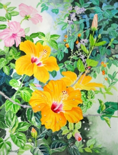 Yellow hibiscus:  Artwork by Indian Art Ideas