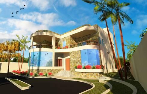 اظهار معمارى لفيلا بالقاهرة villa - cairo:  منازل تنفيذ pm architects