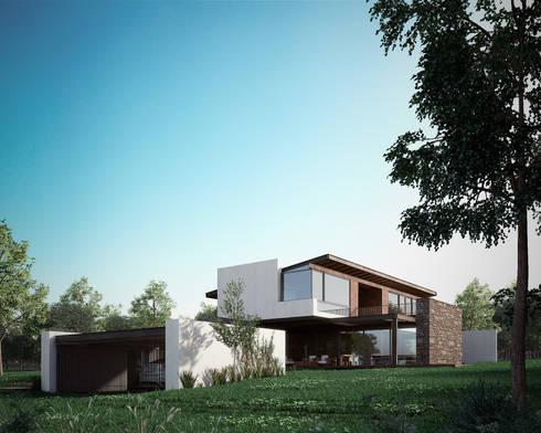 Fachada : Casas de estilo moderno por BAG arquitectura