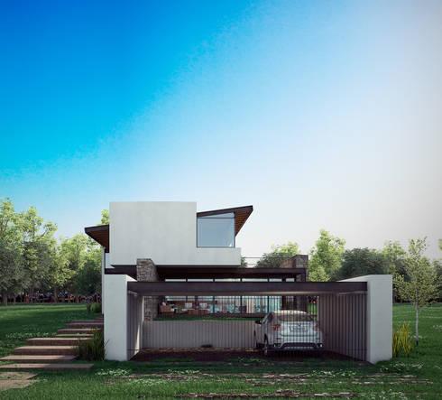 Fachada: Casas de estilo moderno por BAG arquitectura