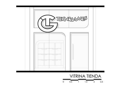 TECNIGAMES : Centros comerciales de estilo  por OPFA Diseños y Arquitectura