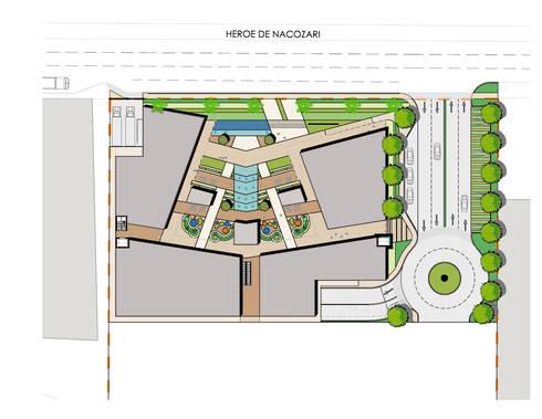 Planta de conjunto: Oficinas y tiendas de estilo  por Segovia ARQ