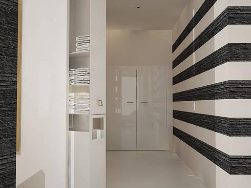 Recepção principal, zona de acessos e entrega/recolha de toalhas para o ginásio.: Clínicas  por EGO Interior Design