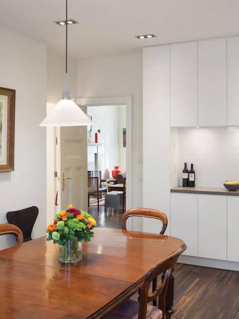 bulletin board; custom millwork; white kitchen;  white subway tiles; open shelves; stainless steel appliances; : modern Kitchen by STUDIO Z