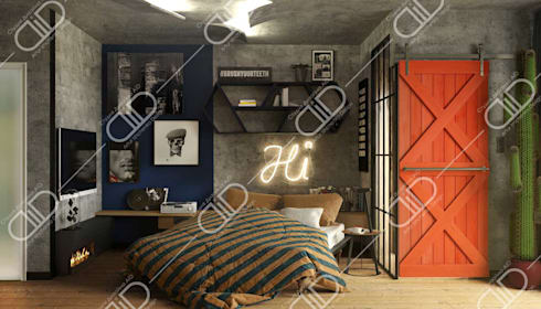 Interior Design and Rendering: industrial Bedroom by Design Studio AiD