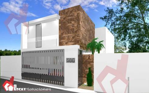 Fachada Makulis: Casas de estilo moderno por Escay Soluciones