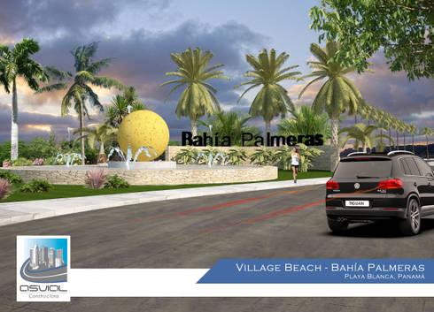 Acceso a la privada Bahía Palmeras: Casas de estilo topical por Constructora Asvial - Desarrollador Inmobiliario