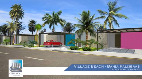 Fachada de las villas: Casas de estilo topical por Constructora Asvial - Desarrollador Inmobiliario
