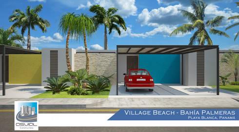 Fachada principal de una villa: Casas de estilo topical por Constructora Asvial - Desarrollador Inmobiliario